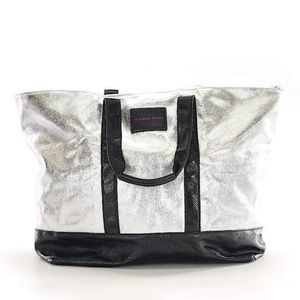 Silver and black Victoria's Secret tote